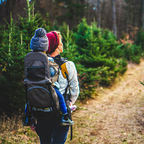 woman with child hiking