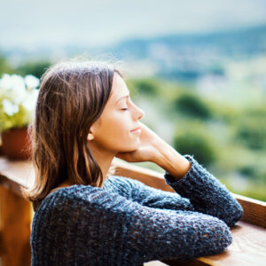 young woman relaxing in fresh air